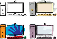 Desktop Computer. Four variations of a desktop computer with wireless keyboard and mouse Stock Photos