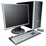 Desktop computer. Desktop computer with lcd monitor, keyboard and mouse