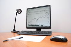 Desktop and computer. Analytical work and business royalty free stock photography