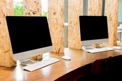 Desktop computer. Blank black screen, turn off Royalty Free Stock Photography