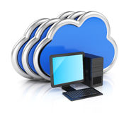 Desktop computer and clouds Stock Images
