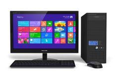 Desktop computer con l'interfaccia dello schermo attivabile al tatto Immagine Stock