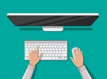 Desktop computer con la tastiera ed il mouse Fotografia Stock