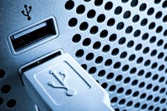 Desktop computer connection port Stock Images