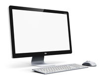 Desktop computer. Creative abstract office business technology communication internet concept: modern professional desktop computer PC workstation with blank Stock Photography