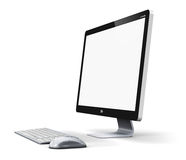 Desktop computer. Creative abstract office business technology communication internet concept: modern professional desktop computer PC workstation with blank Stock Photos