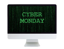 Desktop Computer with Cyber Monday on its Screen Stock Photography
