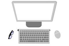 Desktop computer di visualizzazione superiore o di disposizione piana, topo, monitor, tastiera e monocolo senza fili illustrazione vettoriale
