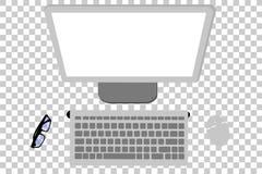 Desktop computer di visualizzazione superiore o di disposizione piana, topo, monitor, tastiera e monocolo senza fili al fondo tra illustrazione di stock