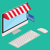 Desktop computer with display with credit card Royalty Free Stock Image