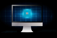 desktop computer with electronic circuit board Stock Photography