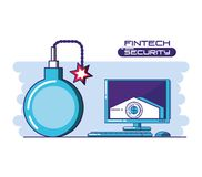 Desktop computer with financial technology security. Vector illustration design Stock Photography