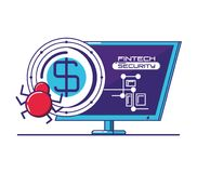 Desktop computer with financial technology security. Vector illustration design Stock Images