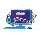 Desktop computer with financial technology security. Vector illustration design Royalty Free Stock Photo