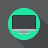 Desktop computer flat icon. Round colorful button, Display circular vector sign, logo illustration. Stock Image