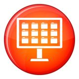 Desktop of computer with folders icon, flat style Royalty Free Stock Images