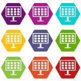 Desktop of computer with folders icon set color hexahedron. Desktop of computer with folders icon set many color hexahedron isolated on white vector illustration Stock Photography