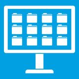 Desktop of computer with folders icon white. Isolated on blue background vector illustration Stock Image