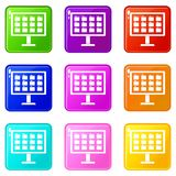 Desktop of computer with folders icons 9 set. Desktop of computer with folders icons of 9 color set isolated vector illustration Royalty Free Stock Photo