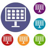 Desktop of computer with folders icons set. In flat circle reb, blue and green color for web Stock Photography