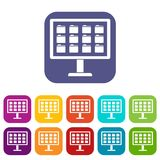 Desktop of computer with folders icons set. Vector illustration in flat style In colors red, blue, green and other Royalty Free Stock Photo