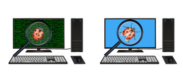 Desktop computer found bugs Stock Images