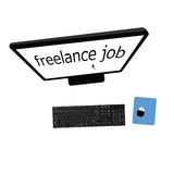 Desktop computer freelance job vector. Art illustration Royalty Free Stock Image