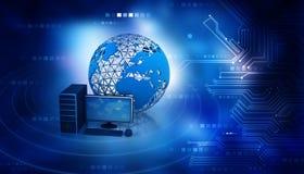 Desktop computer with globe Stock Photo