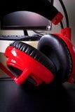 Desktop computer headphones Stock Images