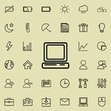 Desktop computer icon. Detailed set of minimalistic icons. Premium graphic design. One of the collection icons for websites, web d. Esign, mobile app on colored Stock Photo