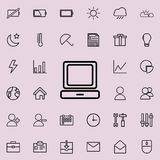 Desktop computer icon. Detailed set of minimalistic icons. Premium graphic design. One of the collection icons for websites, web d. Esign, mobile app on colored Stock Image