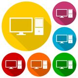 Desktop computer icons set with long shadow Royalty Free Stock Photo