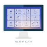 Desktop computer with interface elements on blurred background. Stock Photos