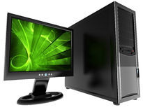 Desktop computer isolato Fotografie Stock Libere da Diritti