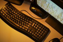 Desktop computer with keyboard Stock Photos