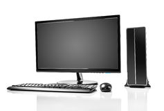 Desktop computer. And keyboard and mouse on white Stock Photography