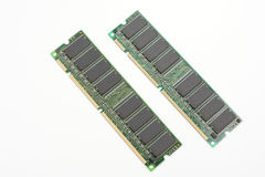 Desktop computer memory. From an oblique angle of desktop computer memory on white background royalty free stock photography