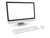 Desktop computer. Modern desktop computer with white blank screen isolated on white background Stock Photos
