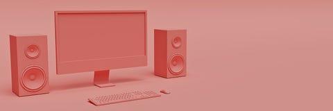 Desktop computer moderno, concetto minimo rappresentazione 3d illustrazione vettoriale