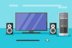 Desktop computer with monitor, speakers, keyboard and mouse. Flat style vector illustration Royalty Free Stock Photography