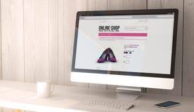 Desktop computer online shopping Royalty Free Stock Photo