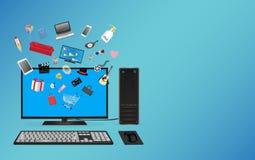 Desktop computer online shopping Stock Image