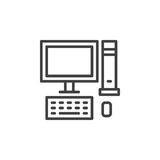 Desktop computer, PC line icon, outline vector sign, linear style pictogram isolated on white Stock Photo