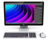 Desktop computer PC with photo editor software Stock Photo