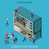 Desktop computer repair service repairing flat isometric vector Stock Images