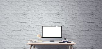 Desktop computer screen . Modern creative workspace background. Front view. Computer display and office tools on desk. Desktop computer screen . Modern creative Stock Images
