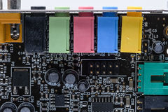 Desktop computer sound card. Old desktop computer sound card with connections for input and output royalty free stock image