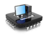 Desktop computer standing by CPU chip Stock Image