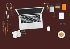 On the desktop computer with stationery vector illustration