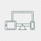 Desktop computer, tablet pc and mobile phone line icons. Modern digital devices thin line icon on transparent background. Vector illustration Royalty Free Illustration